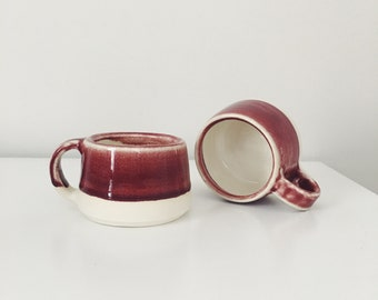 Ceramic Espresso Mugs, Mini ceramic cup espresso cup, maroon coffee cup pottery mug child's mug espresso mug set burgandy red pottery mugs