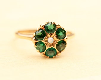 Victorian Cluster Ring, Green Cluster Ring, Gold Victorian Ring, Victorian Opal Ring, Gold Flower Ring, Flower Ring, Size 8.25 Ring