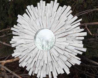 Whitewashed Wood Sunburst Mirror, MADE TO ORDER