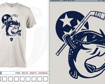 Nashville Hockey Heather Oatmeal Triblend tee- Stanley the Catfish!