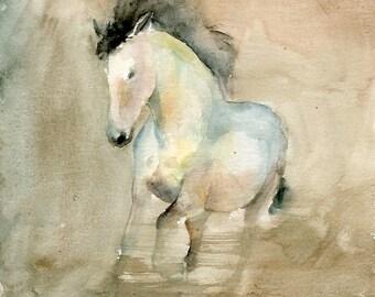 Horse Original watercolor painting 8x10inch
