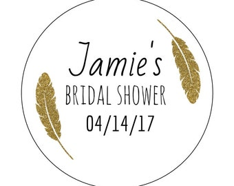 12 Feather Bridal Stickers, Gold Feather, Bridal Shower Labels, Gold Theme, Feather Theme, Tribal, Bridal Shower Stickers, Feather Birthday