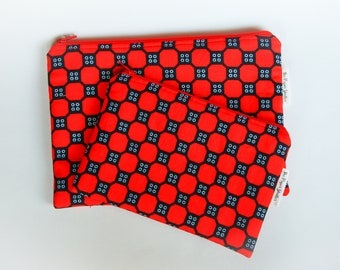 African pouch set,  large and medium, clutch, zipper pouch, red and black, zipper bag