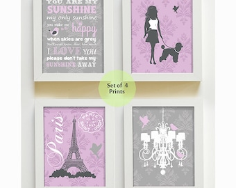 Baby Girl Nursery Art - You Are My Sunshine, Chandelier, Paris French Wall Art, Set of 4 Prints - Girls room Decor, Eiffel Tower, Poodle