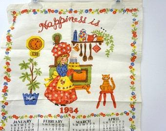 1984 HAPPINESS IS ... linen calendar