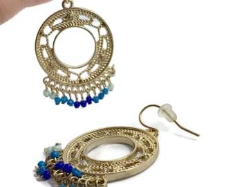 Boho Earrings, Big Statement, Vintage Earrings, Gypsy, Gold Earrings, Bohemian, Festival Jewelry, Large Pierced, Ethnic, Hippie Chic