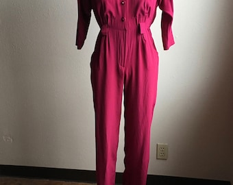 vintage 80s button up magenta high waist shoulder pad  jumpsuit onesie