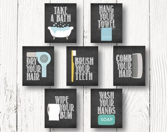 Brush Your Teeth - Comb Your Hair - Wash Your Hands - Hang Your Towel - Take A Bath - Fun Bathroom Printables - INSTANT DOWNLOAD - Size 8x10