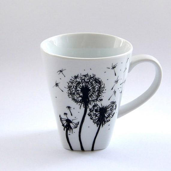 Custom Flowers Mug Coffee Cup Tea Mug Handmade Floral Design Gift For Man  Woman Art Pottery