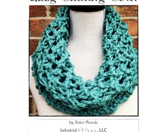 Lacy Chunky Cowl Knitting Pattern - Craft Party Circle Loop Scarf, Cowl, Quick Knit - Chunky Knit Scarf DIY Christmas Gift WWKIP Day