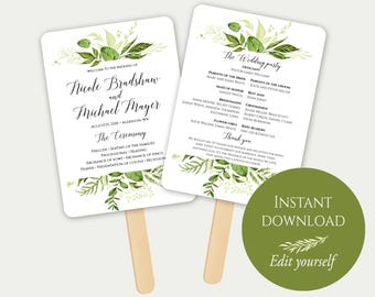 Fan Wedding Program, Fan Program Template, Editable Program, Wedding Program PDF, Order Of Ceremony, Editable Wedding Program, Greenery, C8