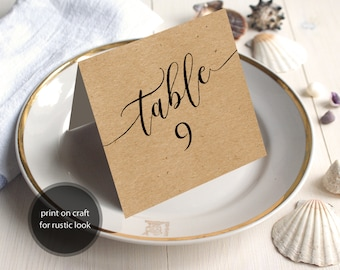 PDF Wedding 1-40 Table Numbers 5x5 Head Table Tented Folded style Rustic Table Number INSTANT DOWNLOAD Wedding calligraphy Printable