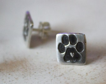 Small Square Paw Print Post Earrings - Silver Dog Lovers Paw Earrings