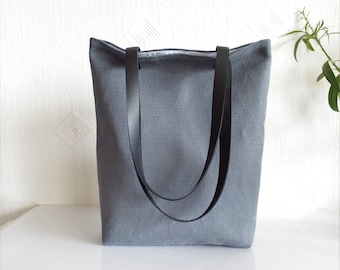 Natural linen tote bag, Charcoal gray natural linen large tote bag with black real leather handles and cotton lining, Offie work bag