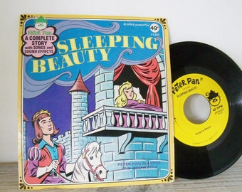 Sleeping Beauty Vintage Children's Record Peter Pan Records 45RPM Extended Play Story Songs Sound Effects F1247 Peter Pan Players 1950s