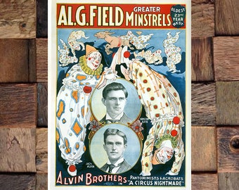 Alvin Brothers AL. Field Greater Minstrels, Vintage Circus Ad, Giclee Art Print, fine Art Reproduction