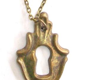 Antique Key Hole Necklace Pendant.Bronze . Door of happiness. Door of love- Nozzle for the lock. Art.8117. Gift, Anniversary, Birthday.