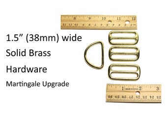 Upgrade to Brass - Solid Brass Hardware for Regular Martingale Dog Collar - for purchase with a collar only