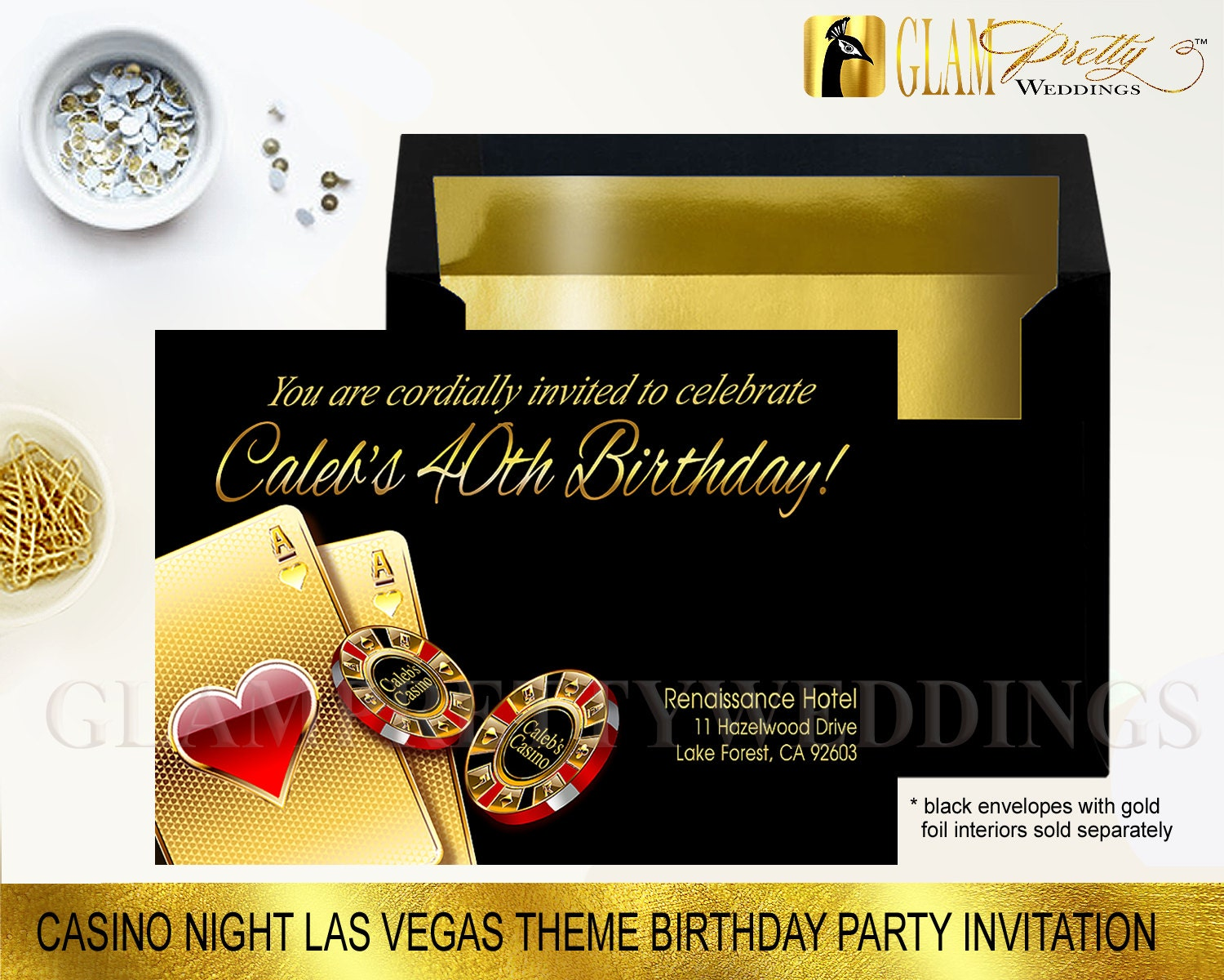 Las Vegas Theme Birthday Party Invitation Your Name in Casino