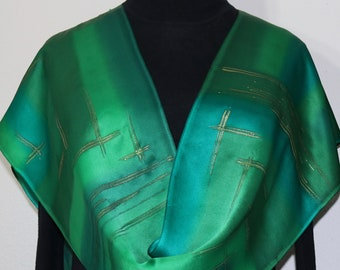 Green Silk Scarf Hand Painted Silk Shawl SUMMER DREAM, by Silk Scarves Colorado. Select Your SIZE! Birthday , Anniversary, Christmas Gift.