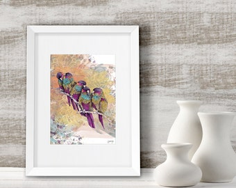 Wall decor, Parrots painting art print, framed & ready to hang, bird gifts for mom