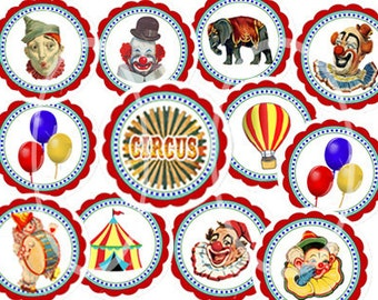 Circus toppers digital, Carnival Circles, digital collage, Circus Birthday Party Printable, colorful Clown Cupcake toppers, Party, Tent tags