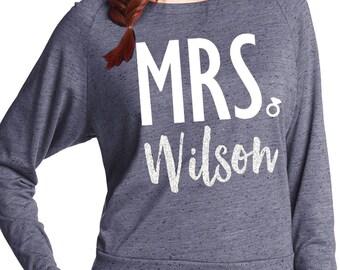 CUSTOM MRS. SWEATSHIRT Silver Glitter Print - Add your name, Bride Gift, Wedding shirt, Bridal shirt, Bride Vneck, wedding