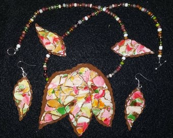 Fall Leaf Necklace with Matching Earrings