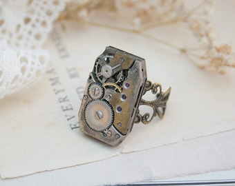 Watch Movement Costume Ring Jewellery Steampunk Ring Novelty Ring Goth Silver Statement Ring Steampunk Watch Jewelry