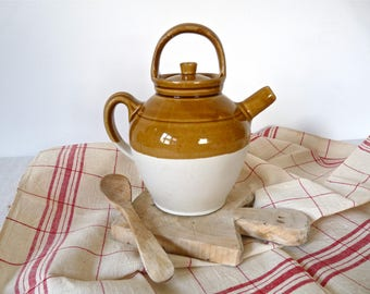 GARGOULETTE French vintage PROVENCE pottery - antique french mediterranean Yellow pottery - French kitchen - French Pottery