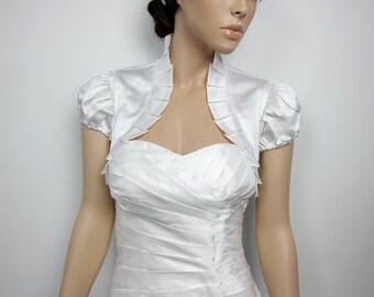 Off-White short sleeve satin bolero wedding bolero jacket shrug