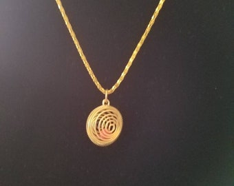 Vintage Springy Spiral Brass Caged Bead Charm Pendant with 20' Necklace