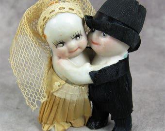 1920s Kewpie Bride and Groom Cake Topper Figurines - Bisque & Crepe Paper Cupie Figures - 1920s - 1930s