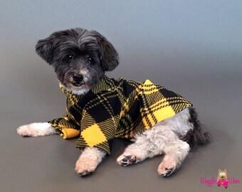 Black and Gold Plaid Dog Pajamas ~ Dog Pyjamas ~ Fleece Dog Sweater