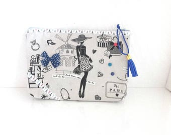 """Kit trendy chic faux leather and fabric La Parisienne, Lady, cosmetic pouch make-up """"my Paris, Moulin Rouge"""""""