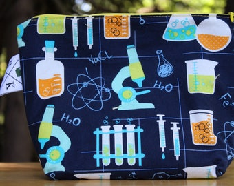Science Chemistry Lovers Bag, Teacher Gifts, Yarn Tool Bag, Make Up Bag, Toiletry Bag, Cotton Zipper Pouch, Zipper Purse