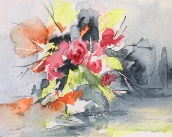 Floral ORIGINAL Miniature Watercolour  'Summer Blooms'  ACEO Flowers Vase For him For Her Home Decor Wall Art Gift Idea, Free Shipping