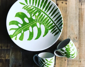 Sold Extra large serving platter, green and white, palm tree platter