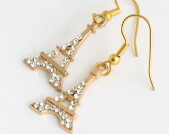 Rhinestone Pave Eiffel Tower Earrings, Gold Eiffel Tower Charm Earrings, Paris Jewelry, French Theme Jewelry, Crystal Bling Earrings, SRAJD