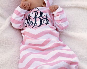 Baby Girl Gown, Baby Girl Coming Home Outfit , Baby Gown , Personalized Clothes for Baby Girl, Monogram Baby Girl Outfit