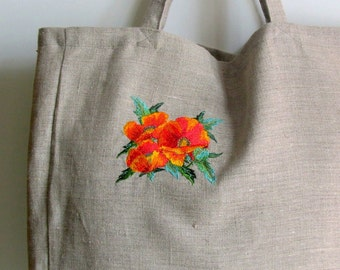 Linen Tote Bag, Embroidered Bag, Natural linen, Large size, Grocery Reusable Bag, Eco-friendly, Natural Beach Tote Bag