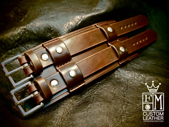 """Leather cuff Bracelet Bracer 3"""" Wide rich brown Bridle leather wristband Custom made for You in USA by Freddie Matara"""