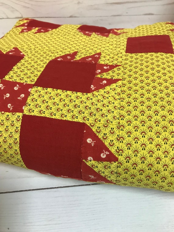Turn of the Century Hand Quilted Bear Claw Quilt Top, Red and Yellow