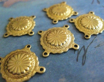 6 PC Raw Brass Nouveau Medallion - 4 way Connector Finding - Y024