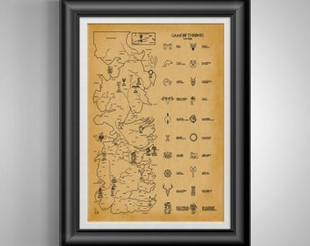 Game of Thrones Gift * Game of Thrones Map * Westeros Map Art * Jon Snow * Daenerys Targaryen * House Stark * Arya Stark * Khaleesi PP 9047