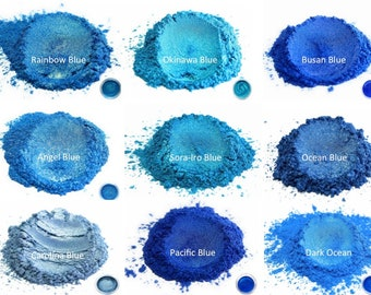 """25 gr Assortment of Eye Candy """"Blue"""" Mica Powder Pigments (Resin, Slime, Paint, Epoxy, Soaps, Nail Polish, Cosmetics)"""