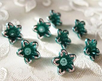 Tiny Emerald Teal/Green Silver Outline Pearl Lucite Acrylic Star Flower Beads 10mm 406