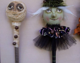 Eenie Meenie, A Primitive, Folk Art, Mummy, WITCH, Shaker, Bobbin Head, Pattern by Pea