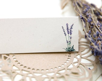 Lavender Wedding Place Cards (White) x 50