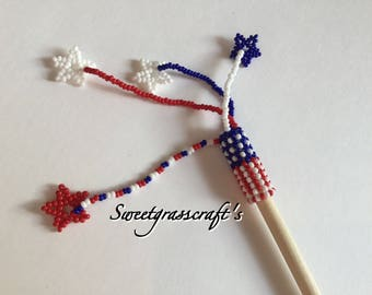 Beaded Hair stick, Native Beaded Hair stick, Hair Jewelry, Hair accessories, American hair accessories, Americana